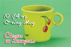 "Fiesta Cherries on Lemongrass ""O"" RIng  Mug"