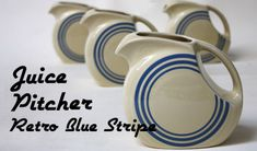 Retro Blue Stripe Juice Pitcher
