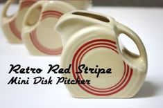 Retro Red Stripe Mini Disk Pitcher