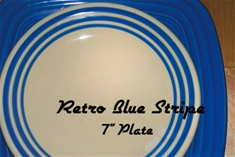 Retro Blue Stripe 7 inch Salad Plate