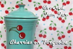 Fiesta Cherries on Turquoise Jam Jar