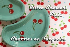 Fiesta Cherries Turquoise Individual Bistro Crescent Plate