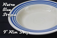 Fiesta retro blue stripe 9 inch rim soup bowl
