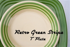Retro Green Stripe 7 inch Salad Plate