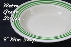 Fiesta retro green stripe 9 inch rim soup bowl