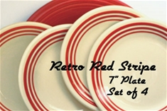 Four Retro Red Stripe 7 inch Salad Plate