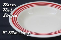 Fiesta retro red stripe 9 inch rim soup bowl