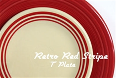 Retro Red Stripe 7 inch Salad Plate