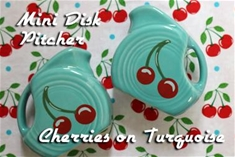 Fiesta Cherries Turquoise Mini Disk Pitcher